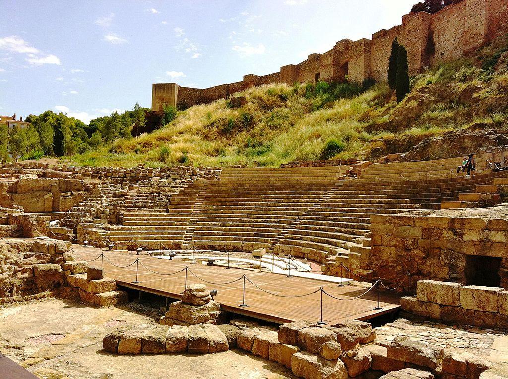 снимка на римския театър в Малага